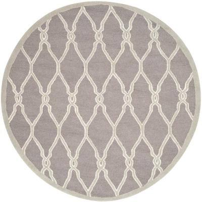 Cambridge Dark Gray/Ivory 8 ft. x 8 ft. Round Geometric Interlaced Border Area Rug