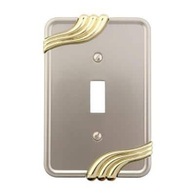 Grayson 1 Gang Toggle Zinc Wall Plate - Nickel and Brass