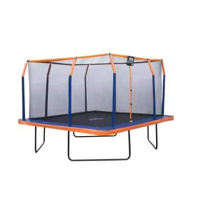 12 ft. x 12 ft. Square Trampoline Set with Premium Top-Ring Enclosure and Safety Pad - Orange/Blue