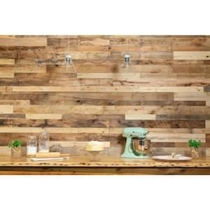 1/2 in. x 32 in. Multi-Width Multi-Color Kiln Dried Antique 100% Reclaimed Wood Kit Planks(10 sq. ft.)