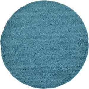 Solid Shag Aqua Blue 8 ft. Round Area Rug
