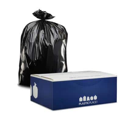 38 in. W x 58 in. H 55 Gal. - 60 Gal. 3.0 mil Black Gusset Seal Contractor Bags (50-Case)