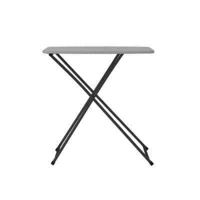 18 in. Gray Plastic Adjustable Height Folding Utility Table