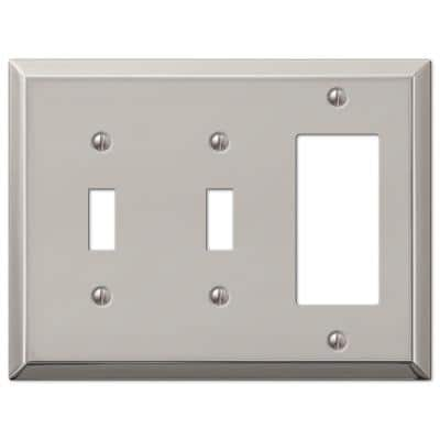 Metallic 3 Gang 2-Toggle and 1-Rocker Steel Wall Plate - Polished Nickel