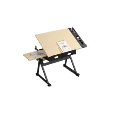 23.62 in. Modern Design wooden adjustable drafting drawing printing table desk and chair with 2 drawers(wood)