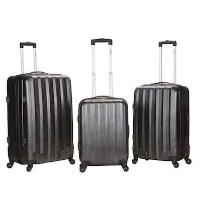 Rockland Metallic 3-Piece Hardside Spinner Luggage Set, Carbon