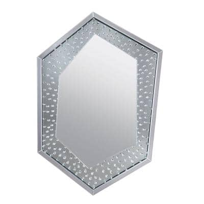 Clear Faux Crystal Accented Wooden Frame Wall Decor in Hexagonal Shape