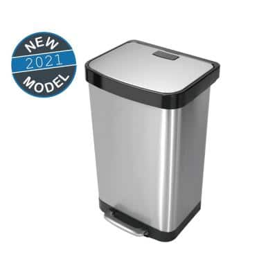 13.2 Gal./50 l Stainless Steel Rectangular Liner Rim Step-on Trash Can
