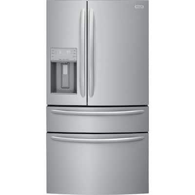 36 in. W 21.7 cu. ft. 4-Door French Door Refrigerator in Smudge-Proof Stainless Steel, Counter Depth
