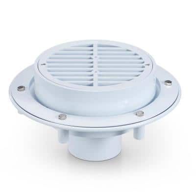8 in. Round Cast Iron Top Assembly, Anchor Flange, Sediment Bucket Large Capacity Floor Drain