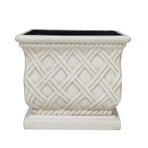 17.75 in. Aged White Cast Stone Square Lattice Planter