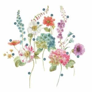 5 in. x 19 in. Lisa Audit Garden Flowers 25-piece Peel and Stick Giant Wall Decals