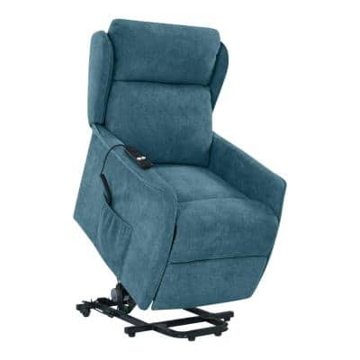 Classic Caribbean Blue Chenille Power Recline and Lift Wingback Chair