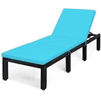 Removable Cushions Wicker Outdoor Lounge Chair with Turquoise