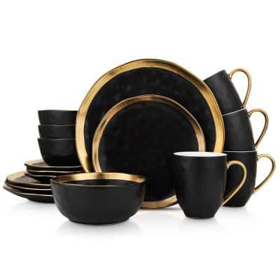 16-Piece Dishes for 4-Gold and Black Florian Modern Porcelain Dish Set