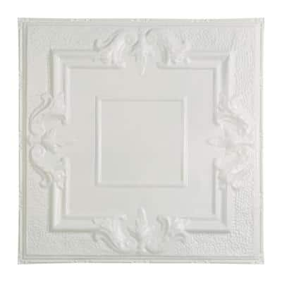 Niagara 2 ft. x 2 ft. Nail Up Metal Ceiling Tile in Matte White (Case of 5)