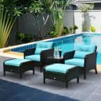5-Piece Metal Frame Plastic Rattan Patio Conversation Set with Blue Cushions, 2 Chairs, 2 Ottomans, and Table