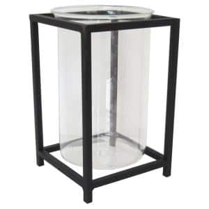 10 in. Black Metal and Glass Outdoor Patio Lantern