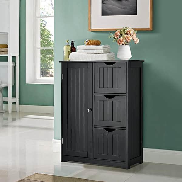 Costway Black Bathroom Floor Accent, Black Bathroom Storage Cabinet