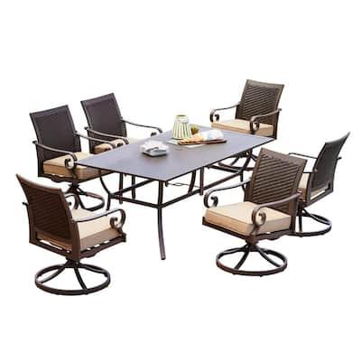 Milano 7-Piece Aluminum Swivel Outdoor Dining Set with Tan Cushions