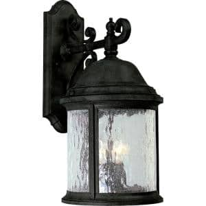 Ashmore Collection 3-Light Textured Black Water Seeded Glass New Traditional Outdoor Large Wall Lantern Light