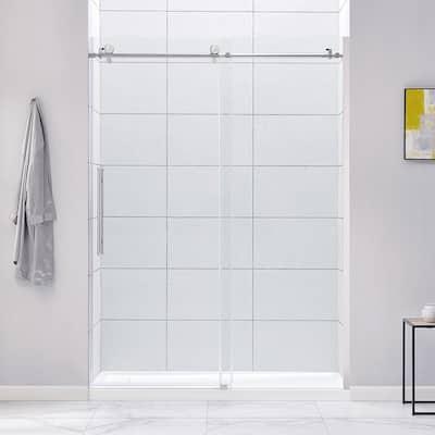 Cambridge 60 in. W x 78.74 in. H Frameless Sliding Shower Door in Chrome