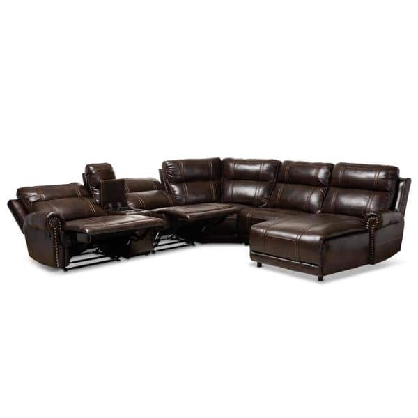 Baxton Studio Dacio 6 Piece Brown Faux, Faux Leather Curved Sectional Sofa