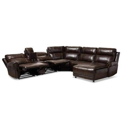 Dacio 6-Piece Brown Faux Leather 6-Seater Curved Reclining Sectional Sofa