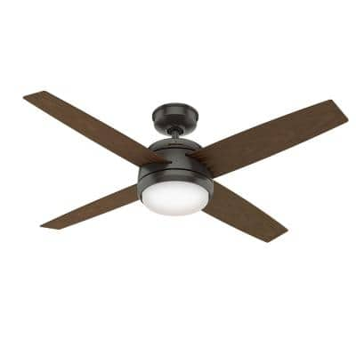 Oceana 52 in. LED Indoor/Outdoor Noble Bronze Ceiling Fan with Light Kit and Wall Switch