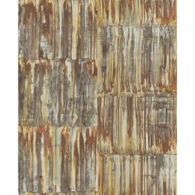 Patina Brass Faux Metal Panels Paper Strippable Roll (Covers 56.4 sq. ft.)
