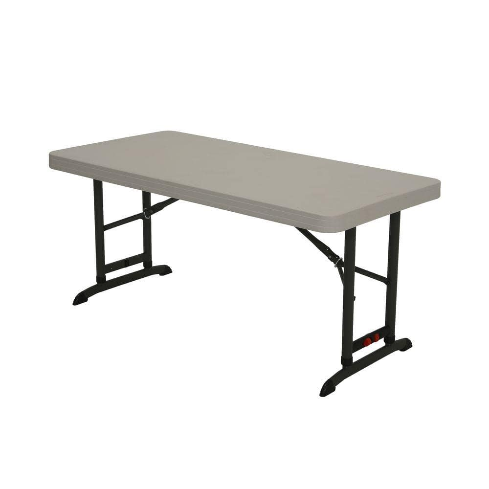 Lifetime 48 In Almond Plastic Adjustable Height Folding High Top Table 80387 The Home Depot