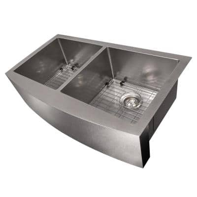 "ZLINE 36"" Niseko Farmhouse Apron Mount Double Bowl DuraSnow® Stainless Steel Kitchen Sink with Bottom Grid (SA50D-36S)"