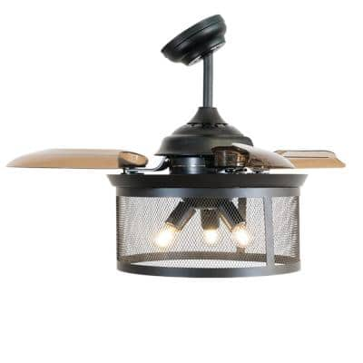 36 in. Indoor Black Ceiling Fan with Light with Remote Control