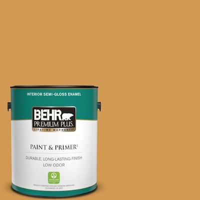 1 gal. #PPU6-02 Saffron Strands Semi-Gloss Enamel Low Odor Interior Paint & Primer