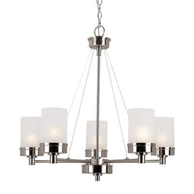Fusion 5-Light Brushed Nickel Chandelier with Frosted Glass Shades