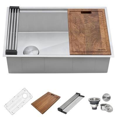 Veniso 16 Gauge Stainless Steel 27 in. Single Bowl Undermount Workstation Slope Bottom Offset Drain Kitchen Sink