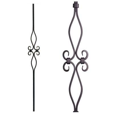 Designer Square 44 in. x 0.625 in. Satin Black Diamond and Oval Spirals Hollow Wrought Iron Baluster