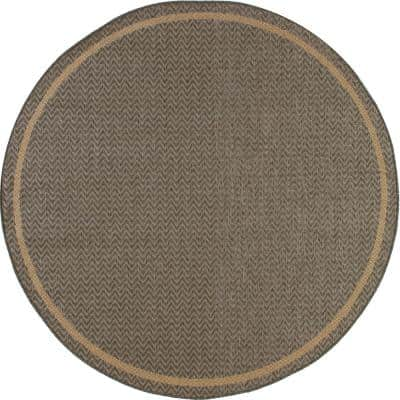 Plymouth Grooveyard Gray 8 ft. x 8 ft. Round Indoor/Outdoor Area Rug