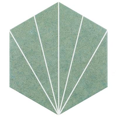 Aster Hex Verde Encaustic 8-5/8 in. x 9-7/8 in. Porcelain Floor and Wall Tile (11.56 sq. ft./Case)