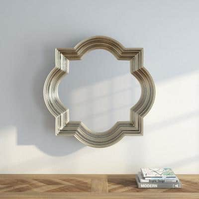 Medium Rectangle Silver LeafChampagne Classic Mirror (30 in. H x 30 in. W)