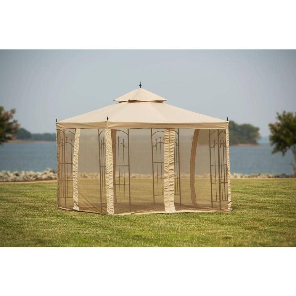 Beige w//Beige Mesh x 10 ft Mosquito Netting for Gazebo Replacement Universal 10 ft