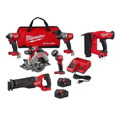 M18 FUEL 18-Volt Lithium-Ion Brushless Cordless Combo Kit (5-Tool) with M18 FUEL 18-Gauge Brad Nailer