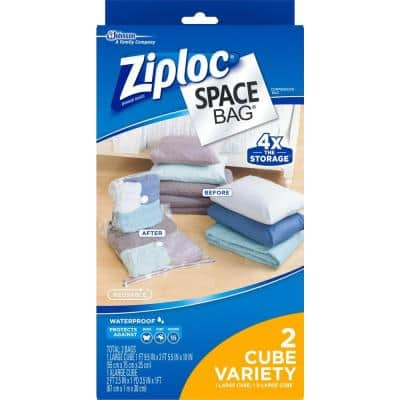 Large, XLarge Plastic Cube Combo Space Bag 4 - 2/pack