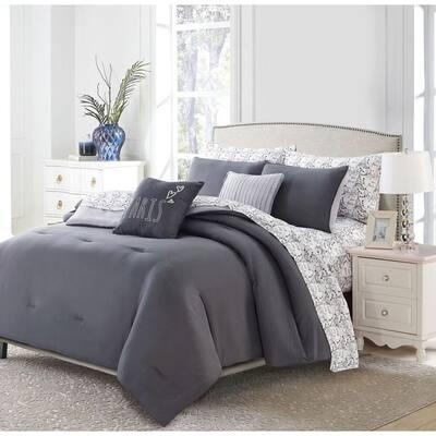 9-Piece Charcoal Parisian Queen Bed in a Bag Set