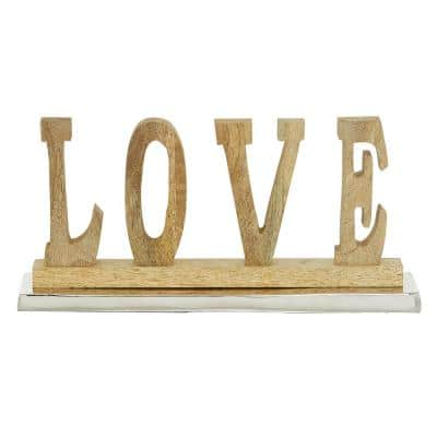 Metal and Wood LOVE Sign Table Decor, 13 in. x 6 in.