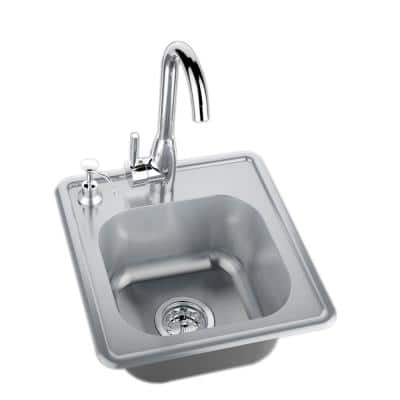 17 in. 304 Stainless Steel Single Sink with Cold and Hot Water Faucet