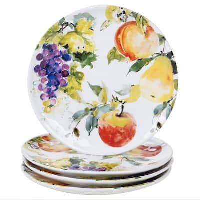 Ambrosia 4-Piece Seasonal Multicolored Earthenware 11 in. Dinner Plate Set (Service for 4)