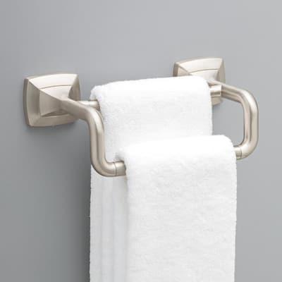 Portwood 6 in. Double Hand Towel Bar in SpotShield Brushed Nickel