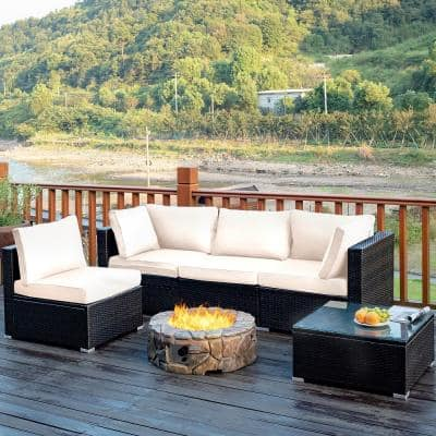 5-Piece Wicker Patio Conversation Set with White Cushions
