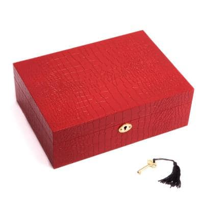 """Red """"Croco"""" Design Wood Jewelry Box with Valet Tray and Key Lock"""